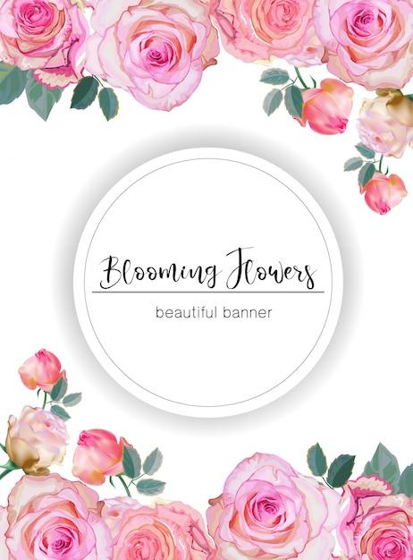 Banner met rozen vectorillustratie Premium Vector