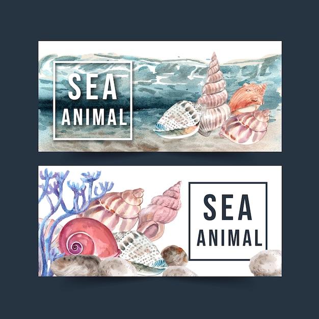 Banner met schelpdieren concept aquarel met elementen illustratie sjabloon. Gratis Vector