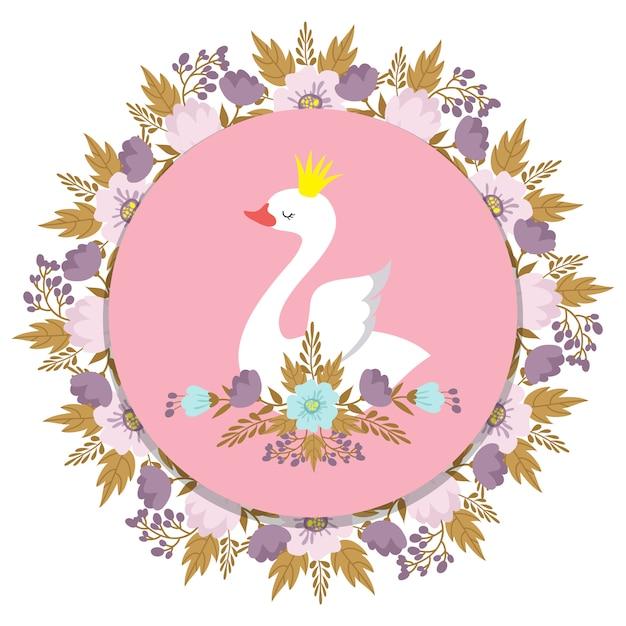 Banner met vectorprinseszwaan en bloemen Premium Vector