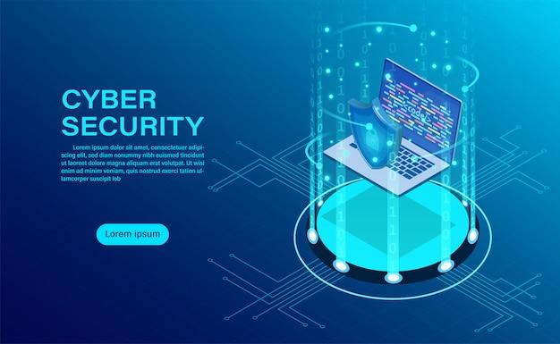 Banner met zakenman beschermen gegevens en vertrouwelijkheid en gegevensbescherming concept Premium Vector