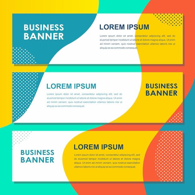 Banner pop website banners vloeibare abstracte vloeibare platte vector Premium Vector