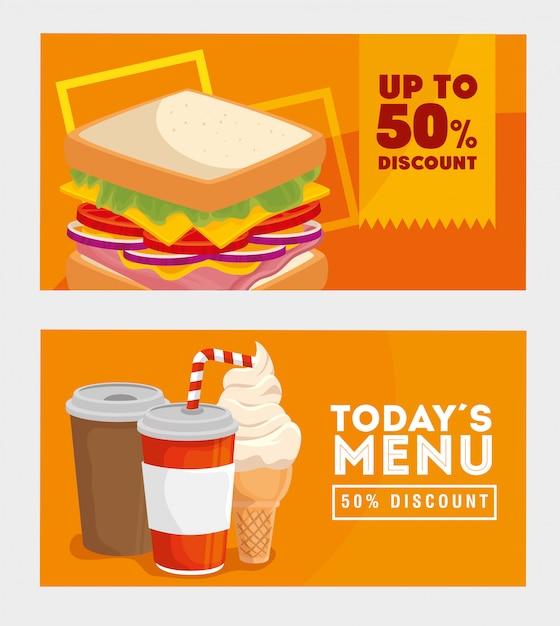 Banner set aanbod heerlijke fastfood Premium Vector