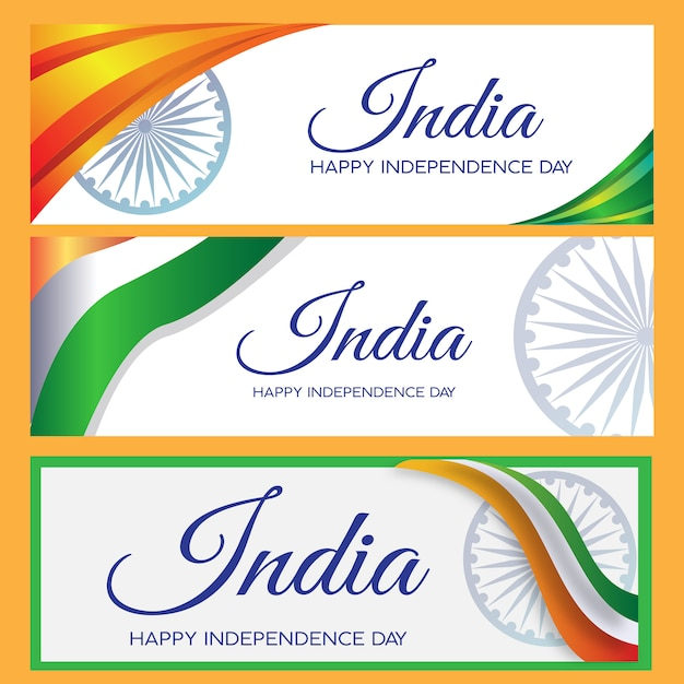 Banner set india independence day Premium Vector