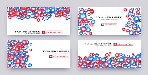 Banner set van soortgelijke harten en duim omhoog pictogrammen voor sociale media. Premium Vector