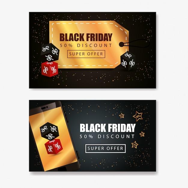 Banner set van zwarte vrijdag en decoratie Premium Vector