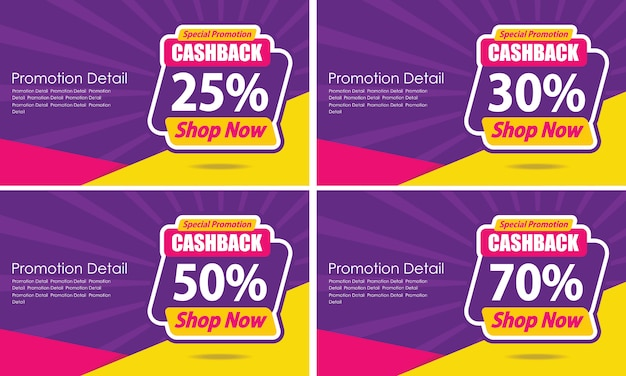 Banner sjabloon ontwerp gegarandeerd cashback Premium Vector