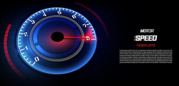 Banner snelheid beweging achtergrond met snelle snelheidsmeter auto. Premium Vector
