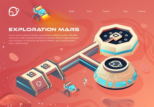 Banner space colonization infographics cartoon. Premium Vector