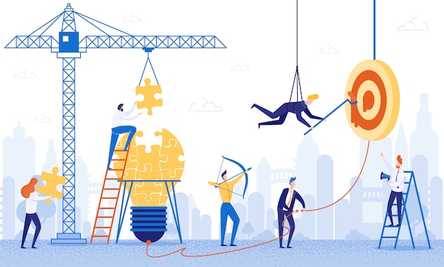 Banner team werk aan het bouwen van ideeën cartoon flat. Premium Vector