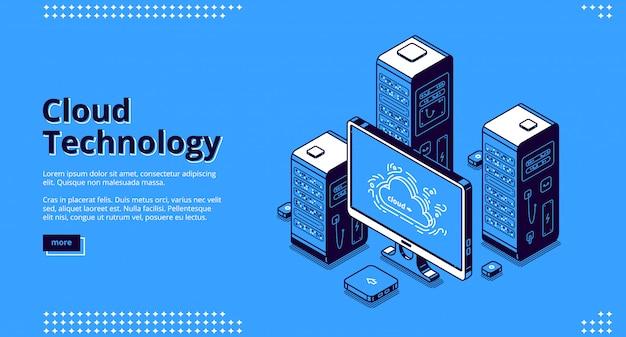 Banner van cloudtechnologie Gratis Vector