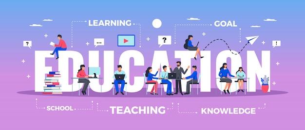 Banner van de onderwijs de horizontale typografie die met het leren en kennissymbolen vlakke illustratie wordt geplaatst Gratis Vector