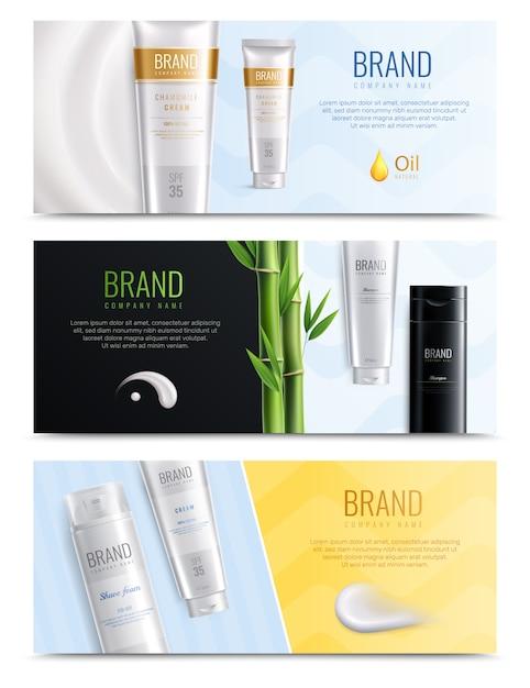 Banner van drie de horizontale realistische kosmetische die vlekken met plaats voor krantekop en buizen van schoonheidsmiddelen vectorillustratie wordt geplaatst Gratis Vector
