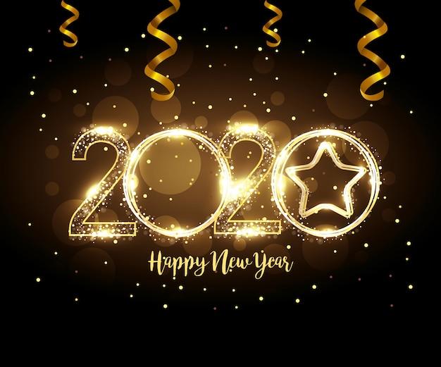 Banner van gelukkig nieuw jaar 2020 Gratis Vector