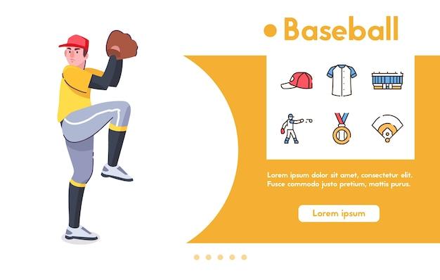 Banner van man honkbalspeler, werper met handschoen staat in pose klaar pitching bal. kleur lineaire icon set - pet, uniform, stadion, kampioen medaille, symbolen van spel, sportcompetitie Premium Vector