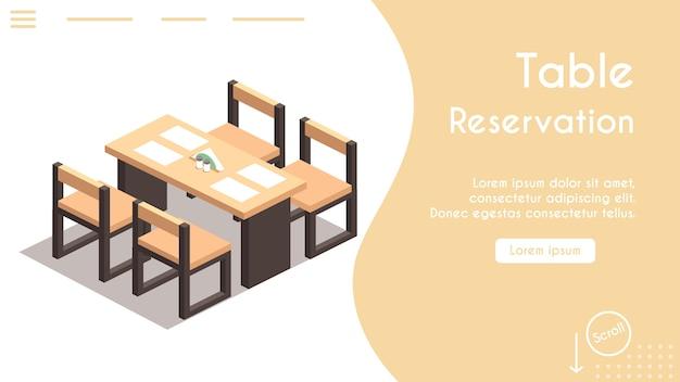 Banner van tafelreservering in caféconcept. isometrische weergave van stoelen en tafel, servetten. modern interieur. online gereserveerde tafel in restaurant. banner sjabloonontwerp, bestemmingspagina Premium Vector