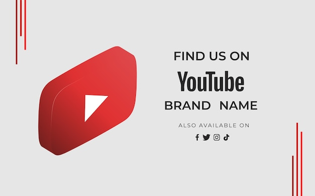 Banner vind ons youtube met pictogram Gratis Vector