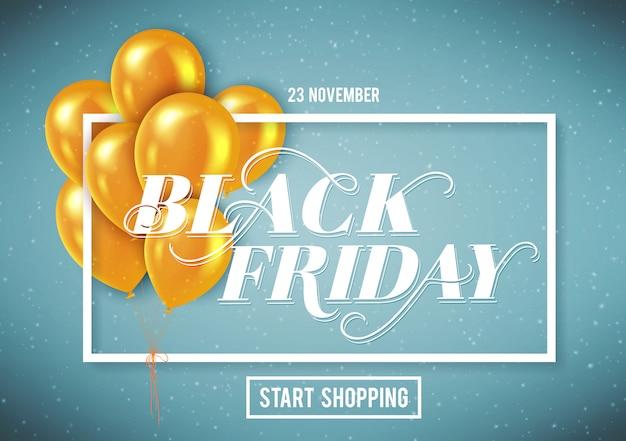 Banner voor black friday-verkoop met handgetekende letters. Premium Vector