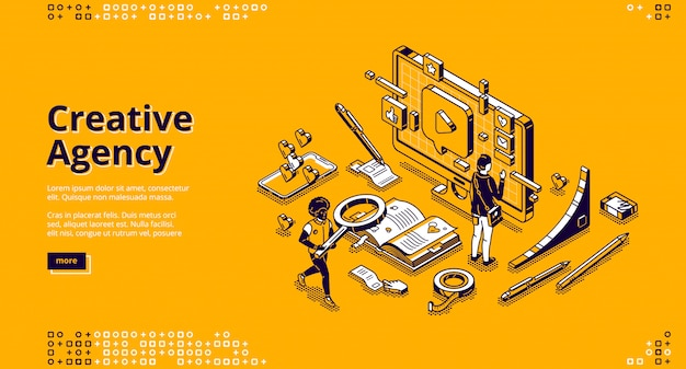 Banner voor creatief bureau Gratis Vector