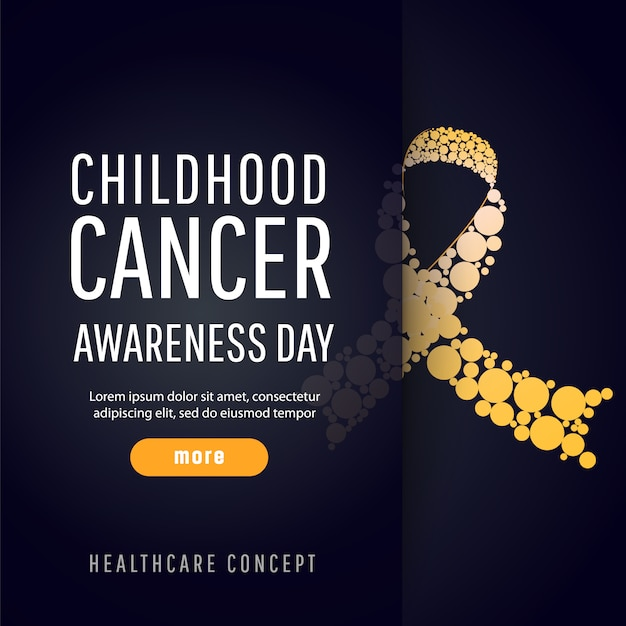 Banner voor dag van de voorlichting van de kankervoorlichting Premium Vector