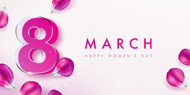 Banner voor de internationale vrouwendag met het decor van roze tulpenbloemblaadjes. Premium Vector
