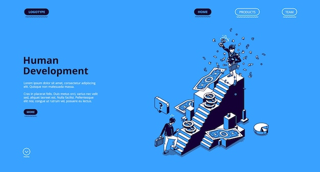Banner voor menselijke ontwikkeling. concept van zelfop te bouwen zakelijke carrière Gratis Vector