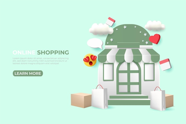 Banner voor online shopping-advertenties. sociale media-sjabloon. Premium Vector