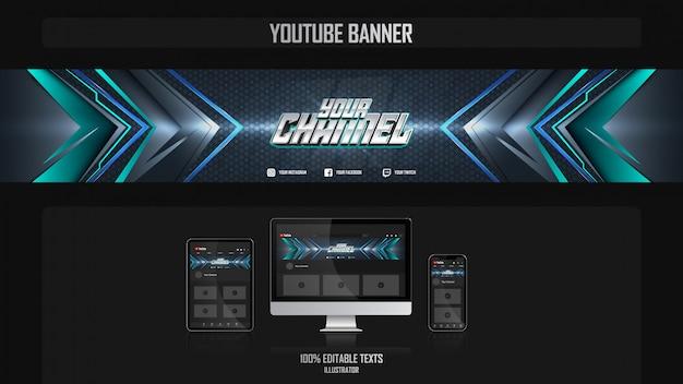 Banner voor sociaal mediakanaal met technologieconcept Premium Vector