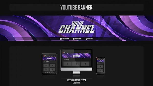 Banner voor social media kanaal met gamer concept Premium Vector