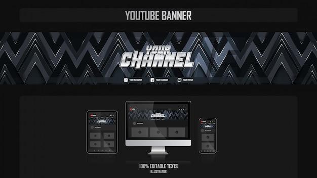 Banner voor social media-kanaal met gamer-concept Premium Vector
