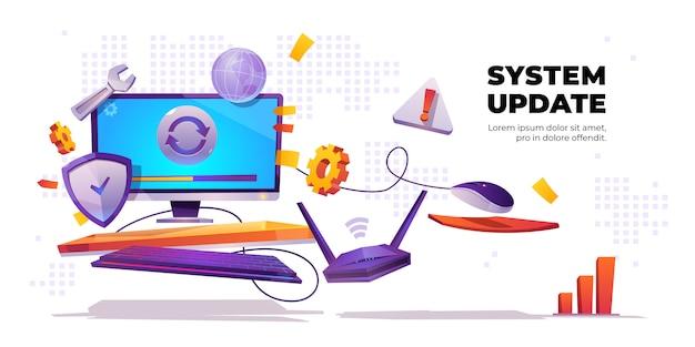 Banner voor systeemupdate, installatie van computersoftware Gratis Vector