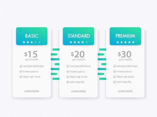 Banner voor tarieven, set prijstabel en vakken Premium Vector