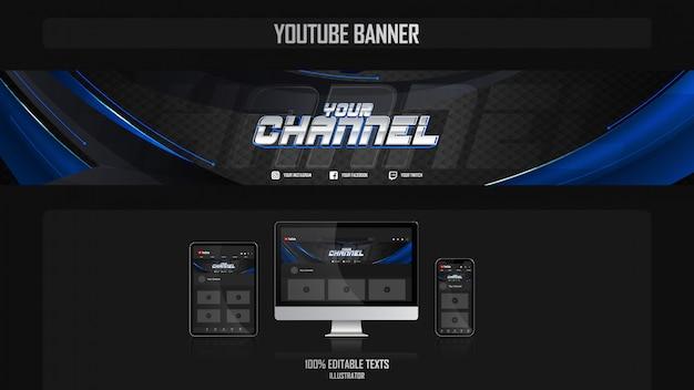 Banner voor youtube-kanaal met aëroob concept Premium Vector
