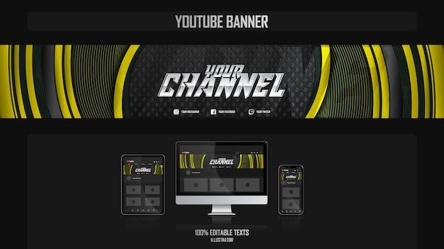 Banner voor youtube-kanaal met bedrijfsconcept Premium Vector