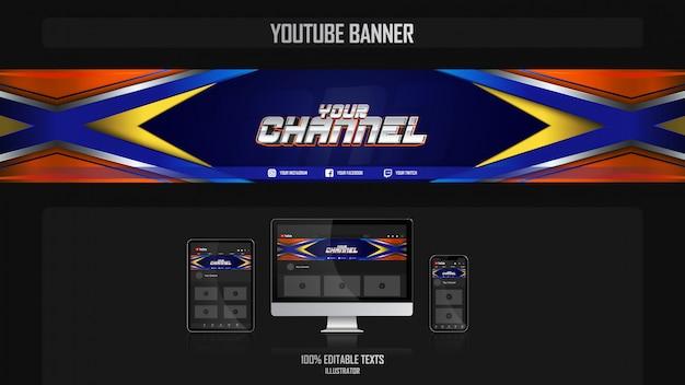 Banner voor youtube-kanaal met crossfit-concept Premium Vector