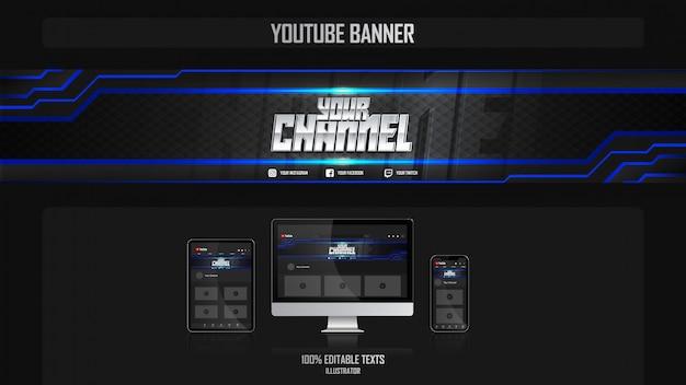 Banner voor youtube-kanaal met dansconcept Premium Vector