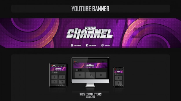 Banner voor youtube-kanaal met gamer-concept Premium Vector