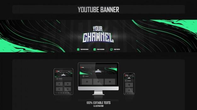 Banner voor youtube-kanaal met gamerconcept Premium Vector