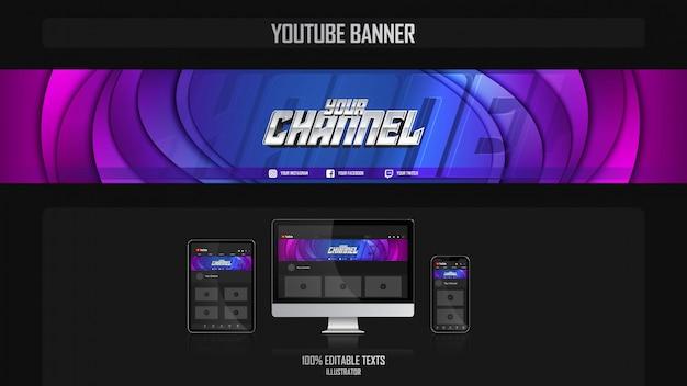 Banner voor youtube-kanaal met harmonieus concept Premium Vector