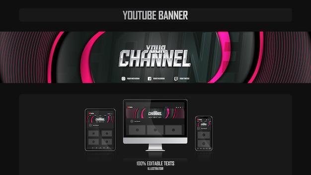 Banner voor youtube-kanaal met muziekconcept Premium Vector