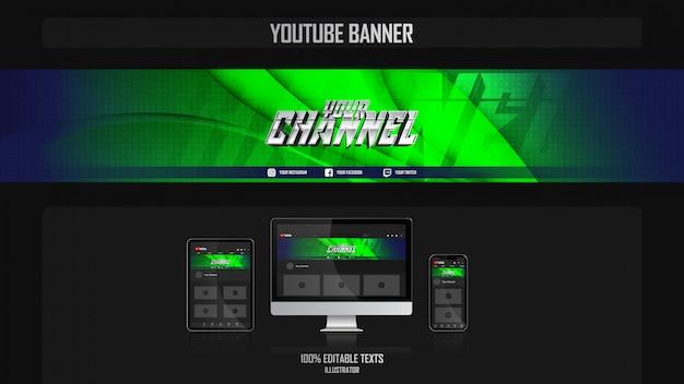 Banner voor youtube-kanaal met natuurconcept Premium Vector