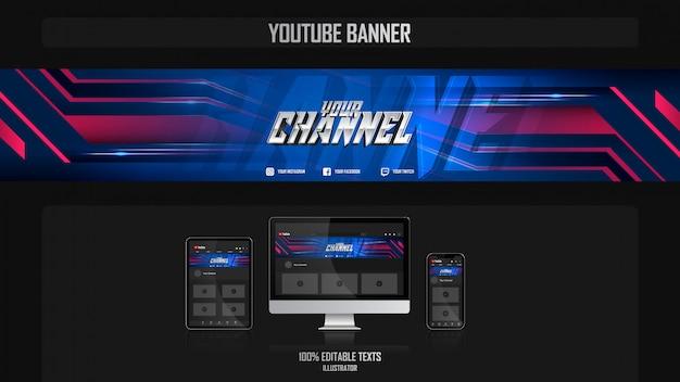 Banner voor youtube-kanaal met night-concept Premium Vector