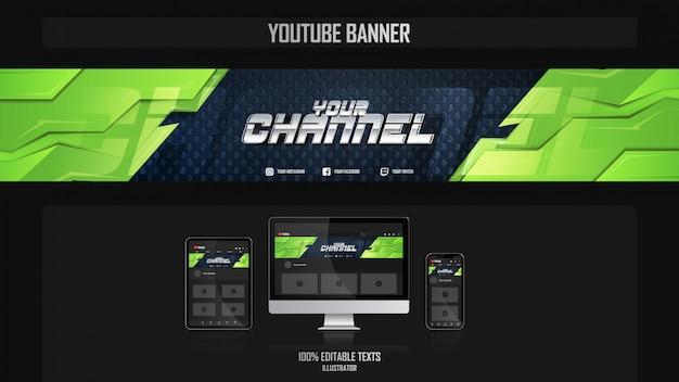 Banner voor youtube-kanaal met sport-concept Premium Vector