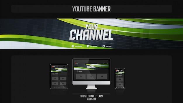 Banner voor youtube-kanaal met sport style-concept Premium Vector