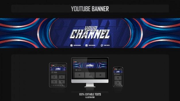 Banner voor youtube-kanaal met sportconcept Premium Vector