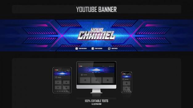 Banner voor youtube-kanaal met technologieconcept Premium Vector