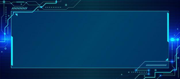 Banner websjabloon abstracte blauwe technologie geometrische circuit achtergrond Premium Vector