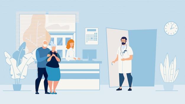 Banner ziek bejaarde echtpaar die in artsenbureau. Premium Vector