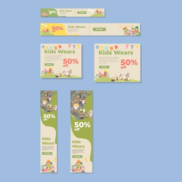 Banneradvertenties van standaardformaat die met leuke illustratie voor jonge geitjeswinkel worden geplaatst Premium Vector