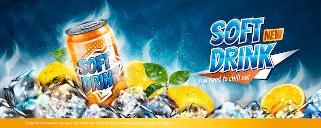 Banneradvertenties voor frisdrank met ijsblokjes en citruselementen in illustratie Premium Vector