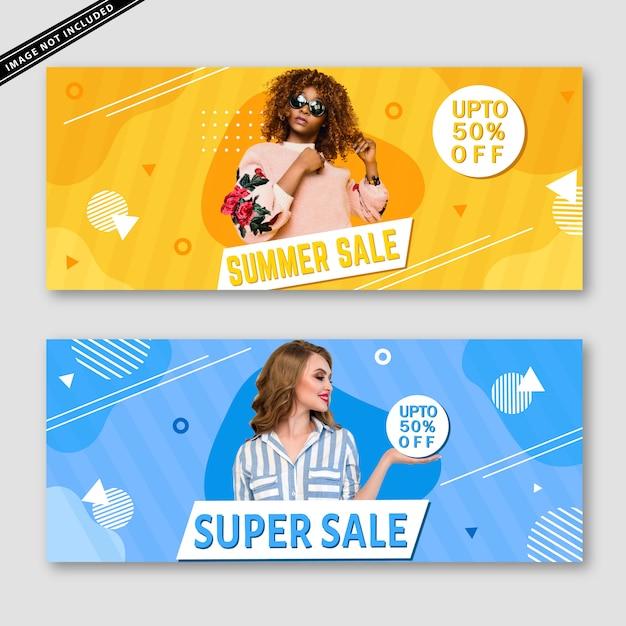 Bannercollectie zomerverkoop Premium Vector